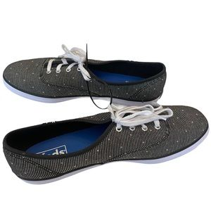NWOT Keds Grey Canvas Lace Up Sneakers Size 8